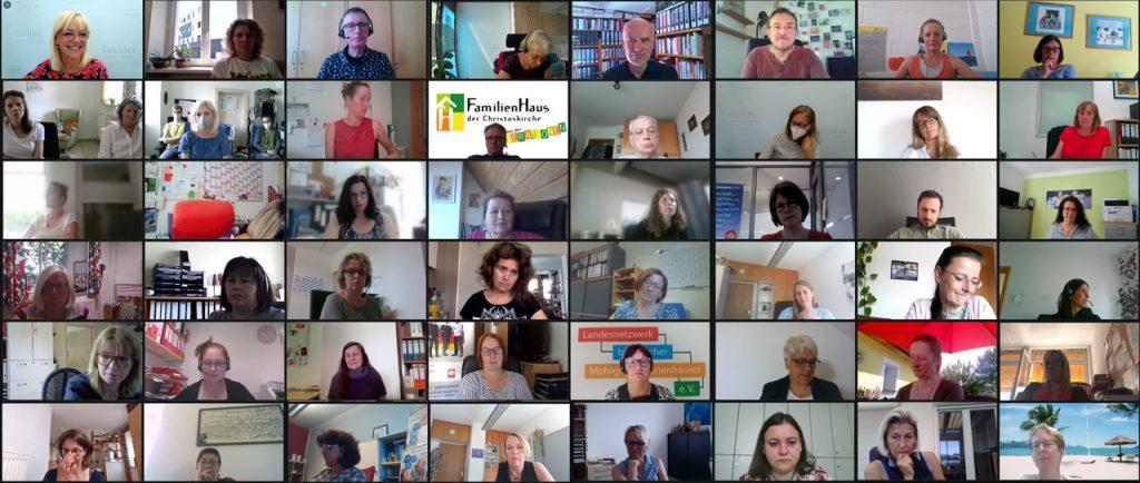 Teilnehmer*innen des Netzwerktreffens der bayerischen Mehrgenerationenhäuser am 16. Juni 2021